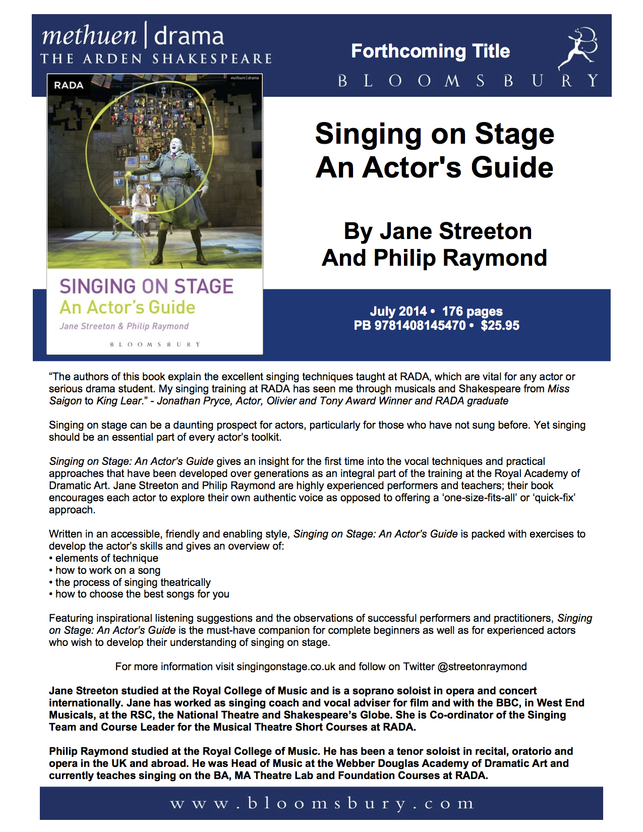 Singing on Stage An Actor's Guide with Website